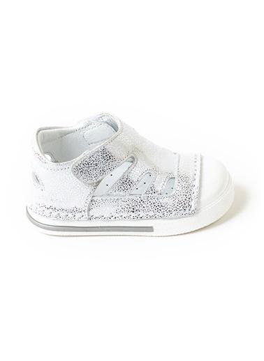 minipicco Minipicco Unısex Gümüş Deri Ortopedik Destekli İlk Adım Ayakkabı Gümüş